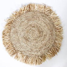 Load image into Gallery viewer, Raffia Natural Placemats Fringes Set of 6