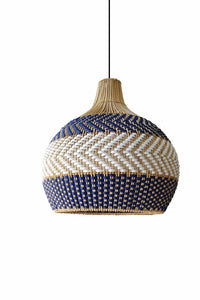 Serena blue rattan pendant light