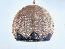 Load image into Gallery viewer, Palm Beach Navy and Natural Rattan Pendant Light Modern Kitchen Pendant