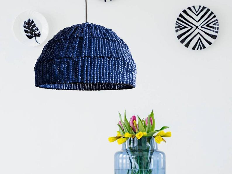 Rebecca Indigo Navy Blue Beads Pendant Light Lighting