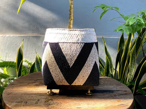 Balinese beaded basket box for plant vase