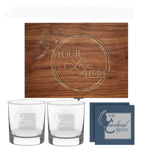 Coaster and glass  in personalized wood box. 73 Personalized whiskey gift set