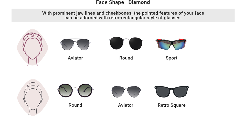 Find sunglasses as per your diamond shape face