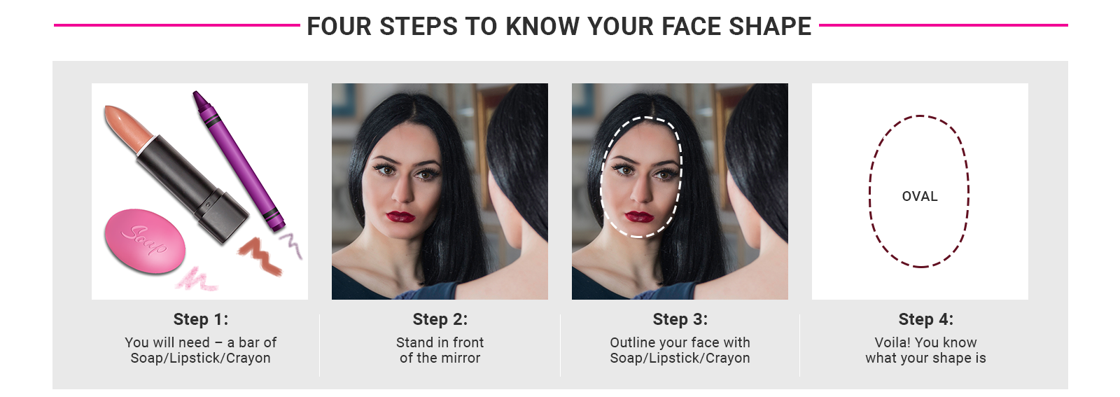 Four steps to know your face shape