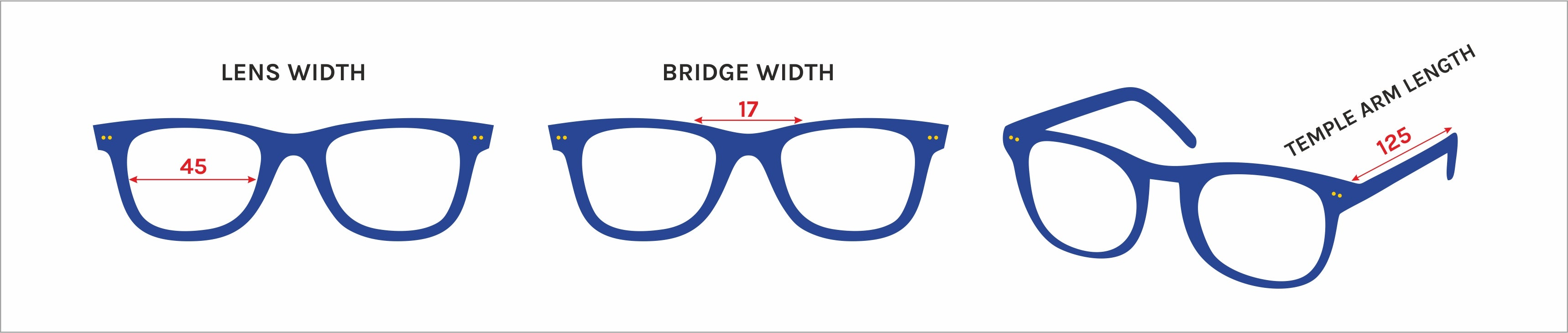 check your eyeglasses size dimensions