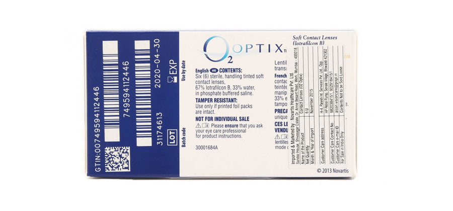 O2 Optix Contact Lenses back image