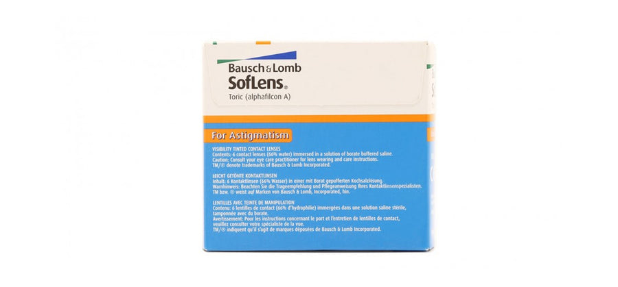 Bausch & Lomb - SofLens Toric for Astigmatism 6 lenses box back image