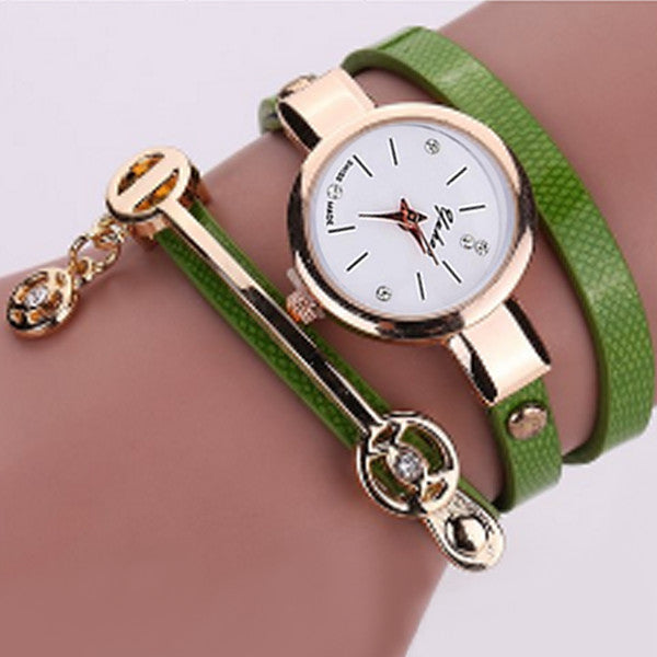 Rose Gold Charm Wrap Watch
