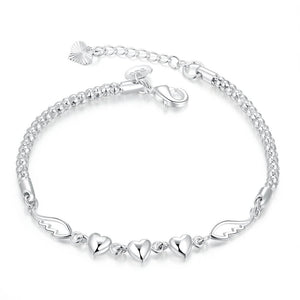 Angles Wings Triple Heart Bracelet in 18K White Gold Plated