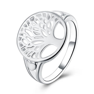 Tree of Life Ring in 18K White Gold Plated