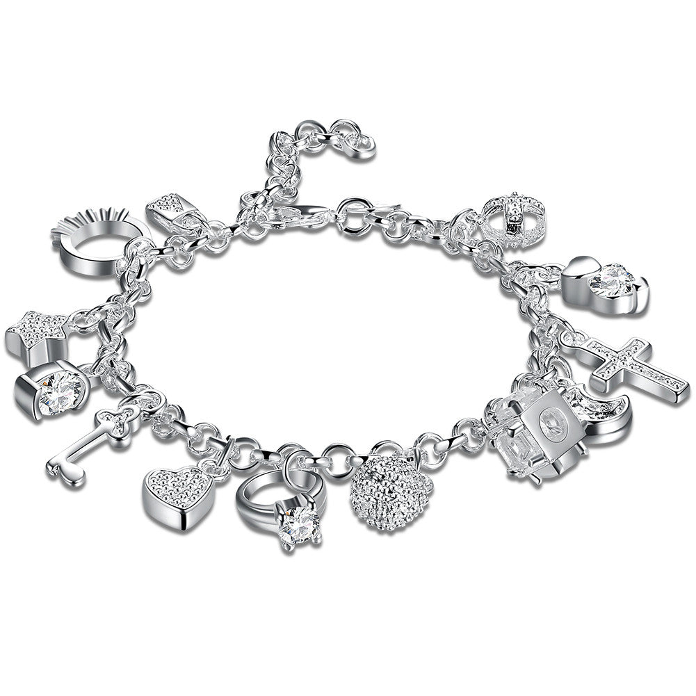 Swarovski Crystal Charms Bracelet in 18K White Gold Plated