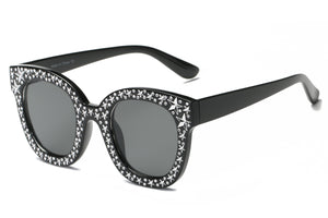 Women Fashion Rhinestone Round Cat Eye Sunglasses