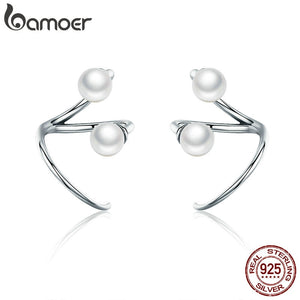 BAMOER 100% 925 Sterling Silver Earrings Elegant Imitation Pearl Stud Earrings for Women Silver Jewelry SCE306