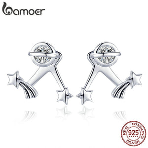BAMOER Authentic 925 Sterling Silver Exquisite Star Clear Cubic Zircon Stud Earrings for Women Sterling Silver Jewelry SCE474