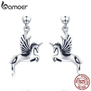 BAMOER Authentic 925 Sterling Silver Trendy Licorne Memory Fashion Stud Earrings for Women Sterling Silver Jewelry Gift SCE438