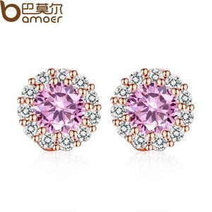 BAMOER New  Gold Color Pink Crystals Surround Girl Stud Earrings with AAA Zircon Earrings Jewelry Party Gift JIE054-PK
