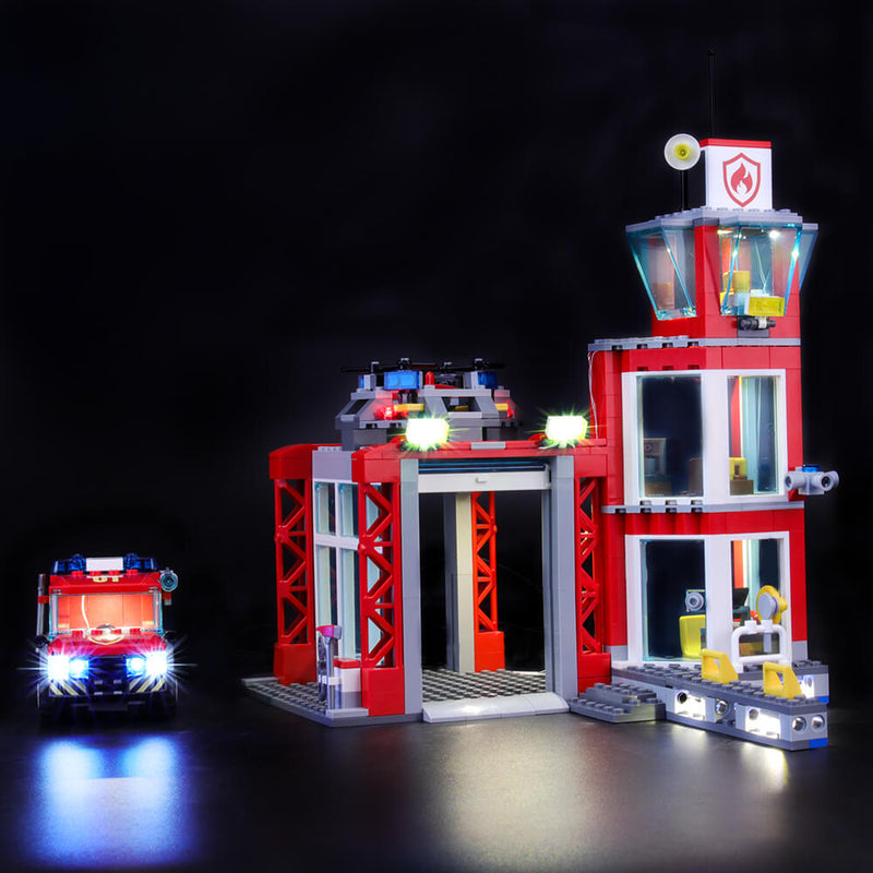 add led lights to lego Fire Station 60215