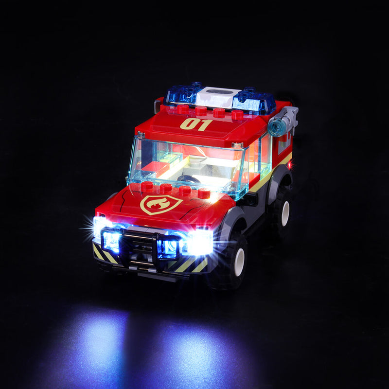 Lego fire off-road vehicle lights