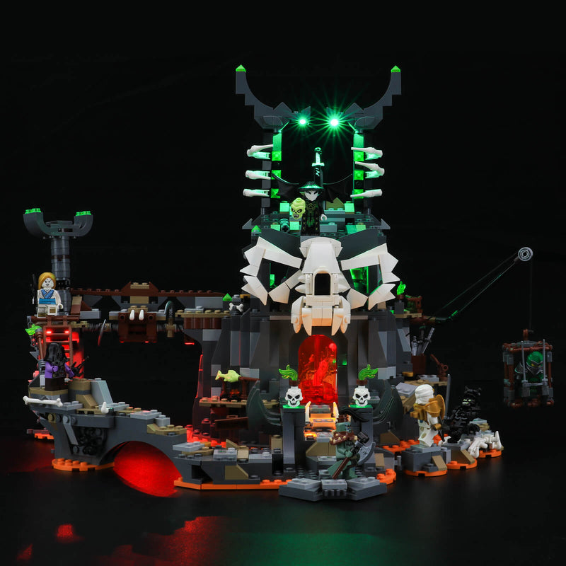 lego Skull Sorcerer's Dungeons with green and red lights