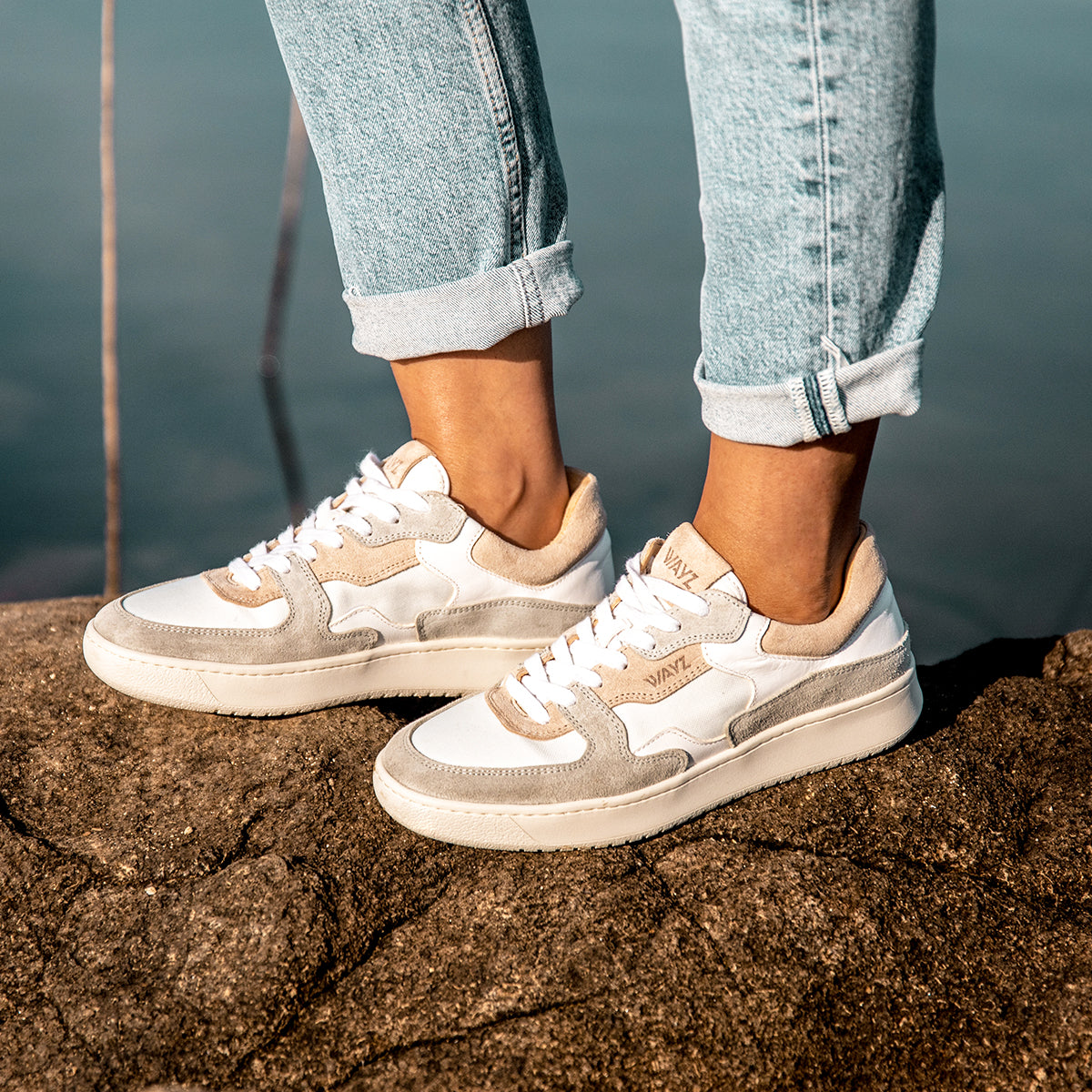 The Sonder White, Grey and Almond Sneakers