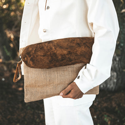 Boletus Mushroom Leather Clutch Bag
