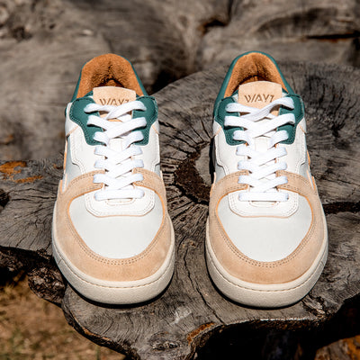 The Sonder White, Green and Almond Sneakers