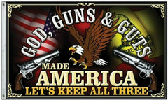 God, Guns & Guts MAGA American 3x5 Flag WH2