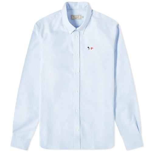 Maison Kitsuné Chemise Oxford Fox Tricolor Light blue