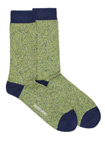 acid green marl cotton blend socks