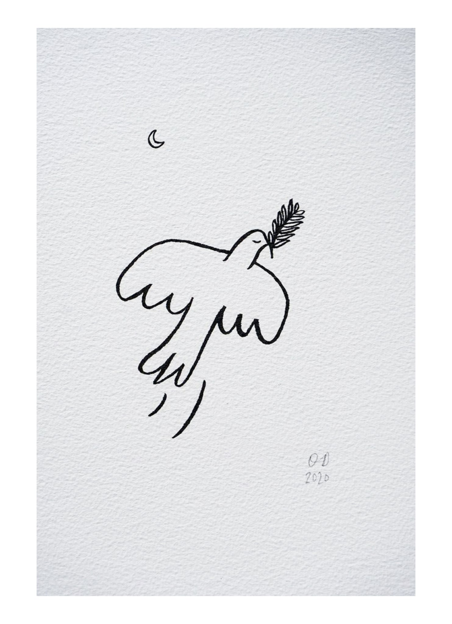 OLIVIA DOMINGOS a4 bird and moon hand drawing