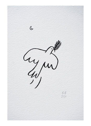 bird and moon hand drawing a4