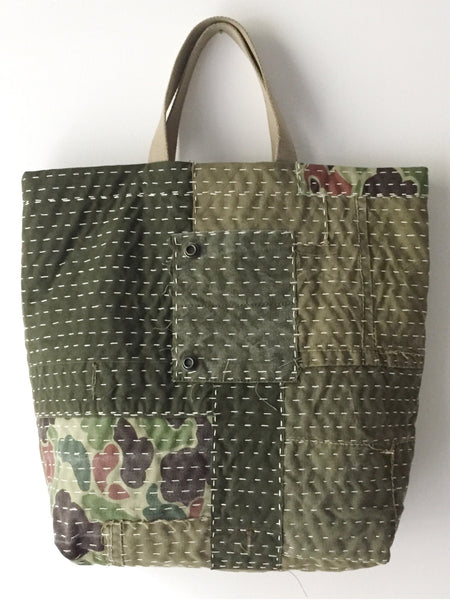 hand stitched military boro tote bag