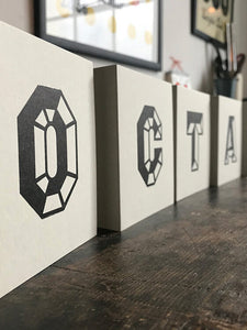 octagon letterpress card