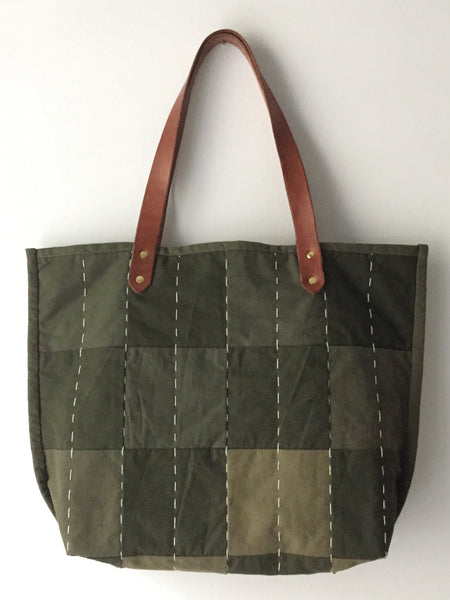 hand quilted military tote bag