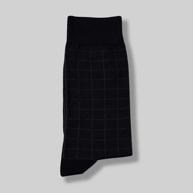 Black Check Mercerized Socks