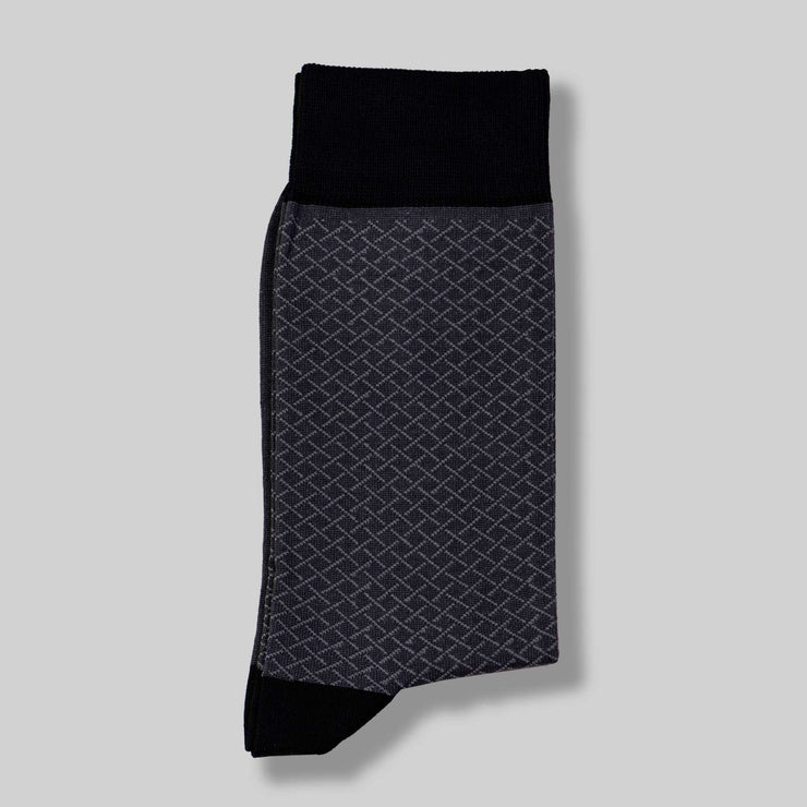 Grey Check Mercerized Socks