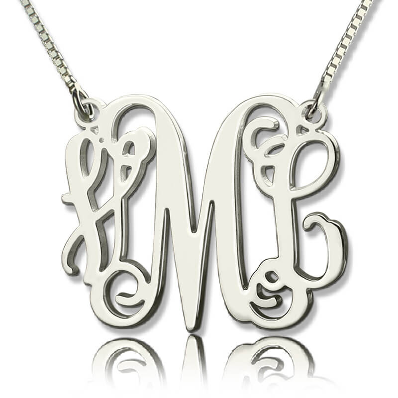 Personalized Monogram Necklace Silver