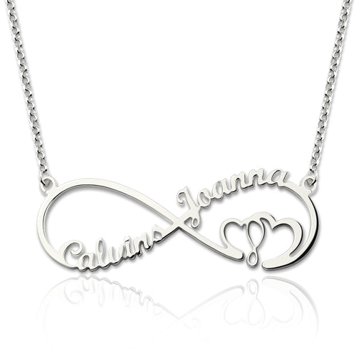 Infinity Heart Necklace with 2 Names Silver