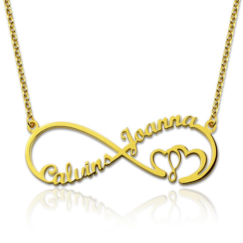 Infinity Heart Necklace with 2 Names Gold Plated