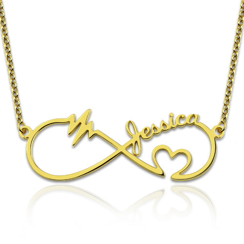 Infinity Heartbeat Name Necklace Gold Plated