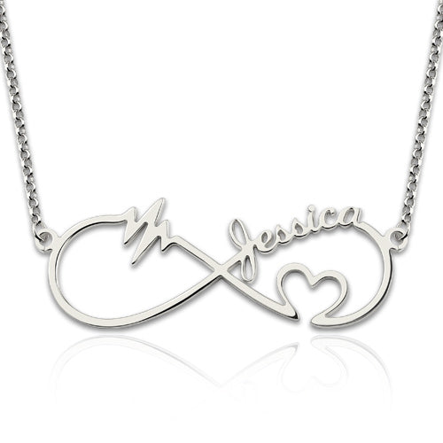 Infinity Heartbeat Name Necklace Silver