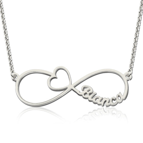 Infinity Heart Name Necklace Silver