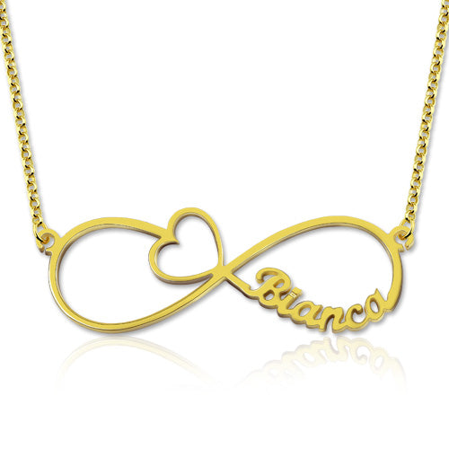 Infinity Heart Name Necklace Gold Plated