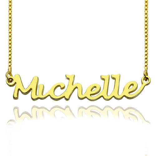 Hand Writing Name Necklace in Gold