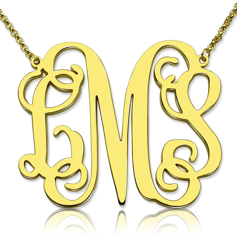 Personalized Monogram Necklace Gold