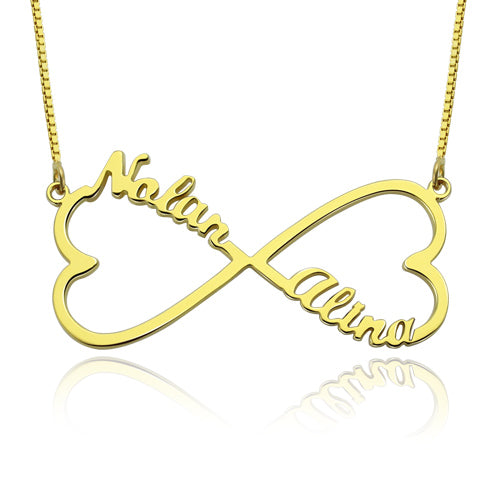 Heart Shape Infinity 2 Names Necklace Gold Plated