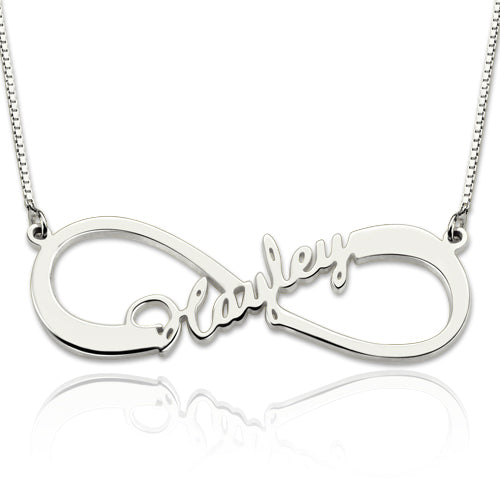 Infinity Middle Name Necklace Silver