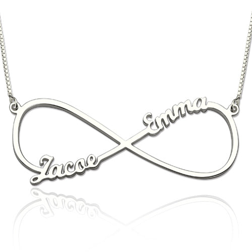 Infinity 2 Names Thin Necklace Silver