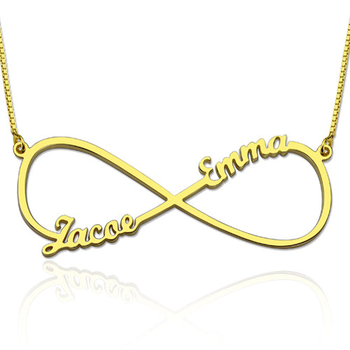 Infinity 2 Names Thin Necklace Gold Plated