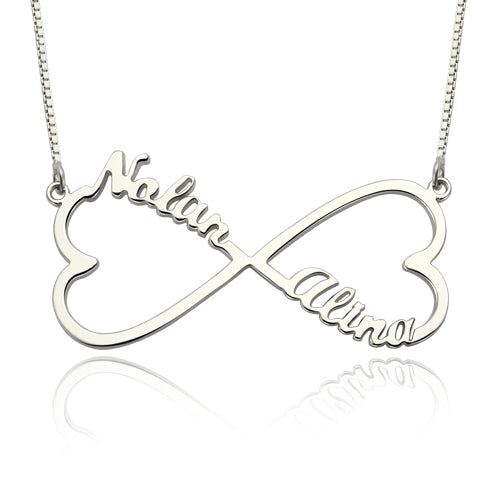 Heart Shape Infinity 2 Names Necklace Silver